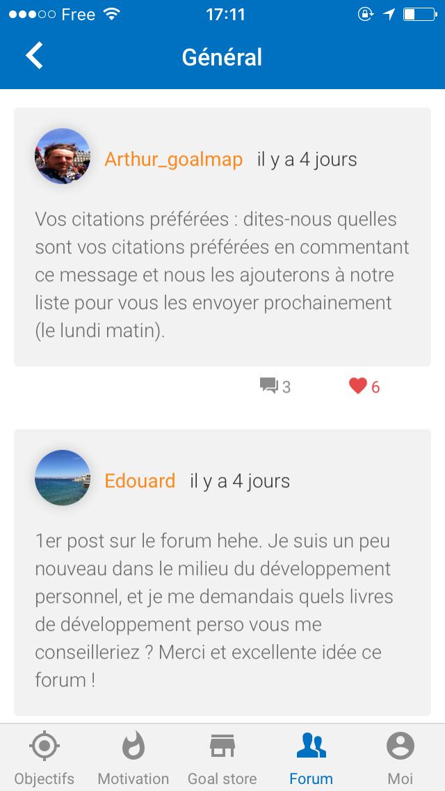communauté sur l'appli goalmap